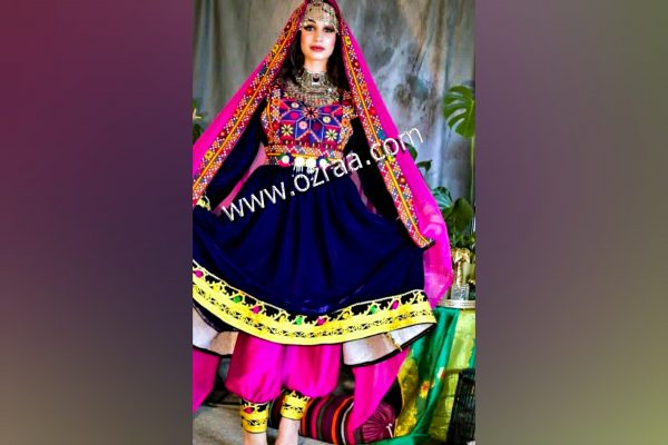 Embroidery Afghan Dress in Dark Blue Color