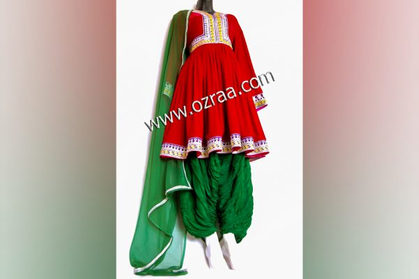 Afghan New Style Dress for Girls in Red Color and Green Trouser
