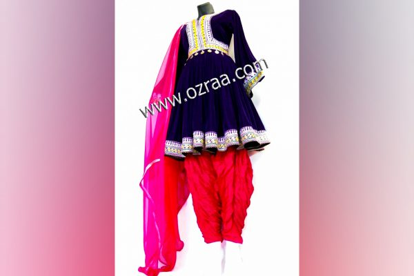 Afghan New Style Dress for Girls in Dark Color and Red Trouser