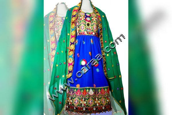 Afghani Dress in Chiffon Blue Color for 9 Year Ladies