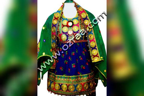 Baby Afghani Dress Style in Gul Negar Dark Blue Color