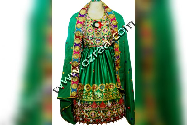 Embroidery Afghani Dress in Silk Green Color for Young Lady