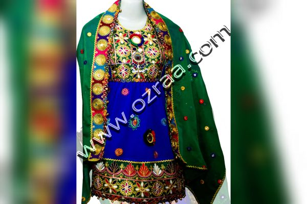 Afghan Dress Style in Chiffon Blue Color for Young Lady
