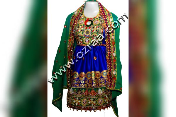 Embroidery Afghani Dress in Silk Blue Color for 5 Years Old