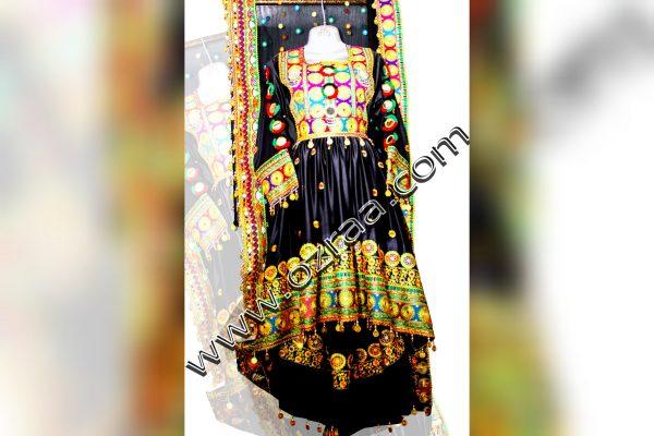 New Design Afghani Dress in Silk Black Color