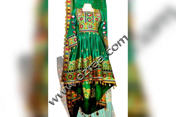 Afghan Dress Style in Silk Green Color