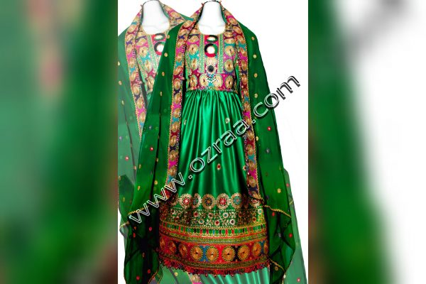 Afghani Dress New Design in Silk Green Color