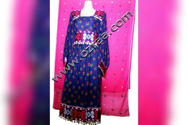 Embroiery Afghan Cloth in Gul Negar Dark Blue Color