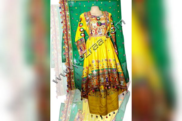 Afghani Traditional Dress in Silk Golden Yellow Color