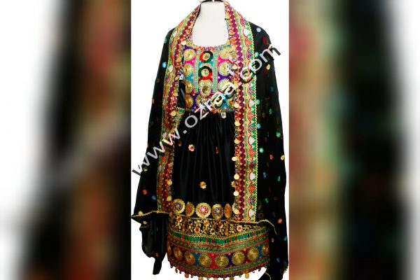 Embroidery Afghan Dress in Silk Black Color for 8 years Girls