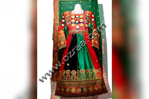 Afghan Traditional Dress in Afghanistan Flag Style