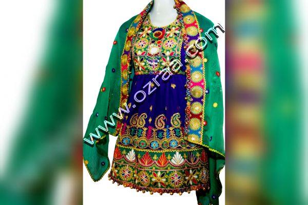 Child Afghani Dress in Chiffon Dark Blue Color
