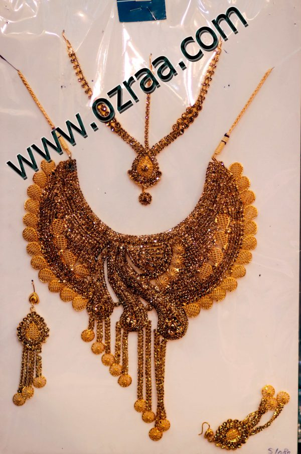 New Afghani Golden Style Earrings, Headdress, and Necklace