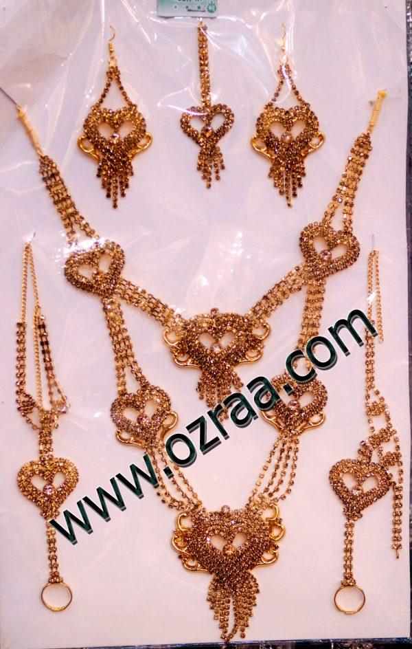 Afghani Gold Earrings, Headdress, Necklace, and Ring Bracelet