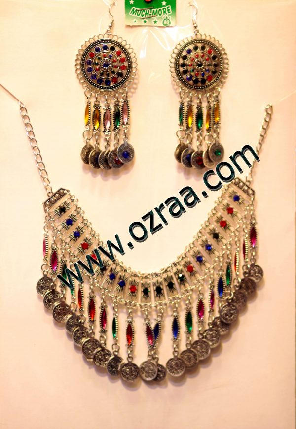 Afghani Cultural Earrings and Necklace Style