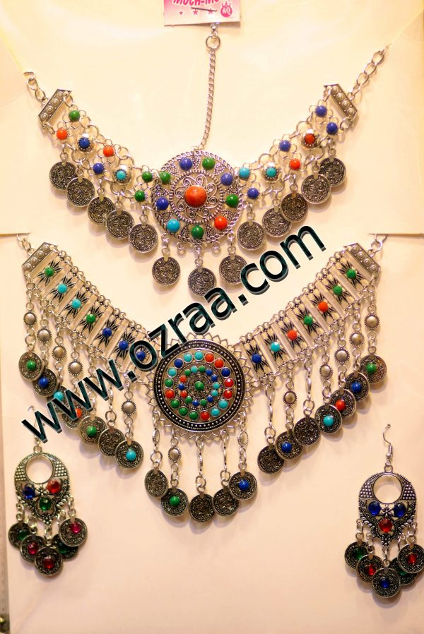 Beautifull New Design Afghani Earrings, Headdress, and Necklace