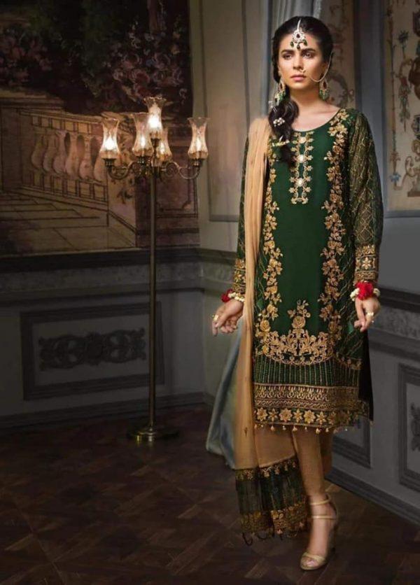 Baroque mohagni Designer chiffon Bridal embroidery suit