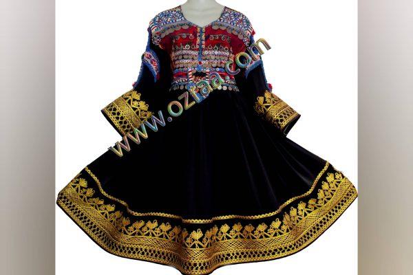 Embroidered Gande Afghani Cloth Design in Black Color