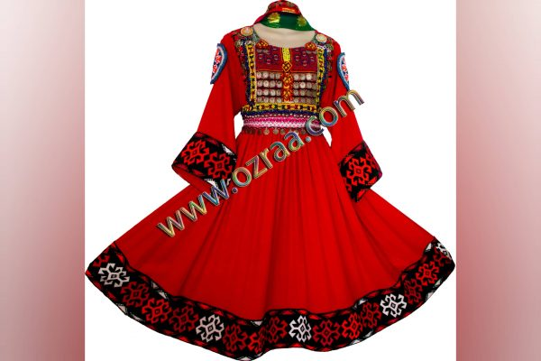 Afghani Dress for Girls in Red Color
