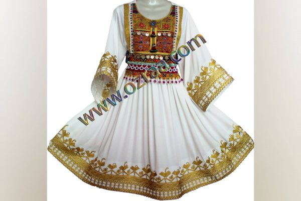 Beautiful White Gande Afghani Cloth for Party