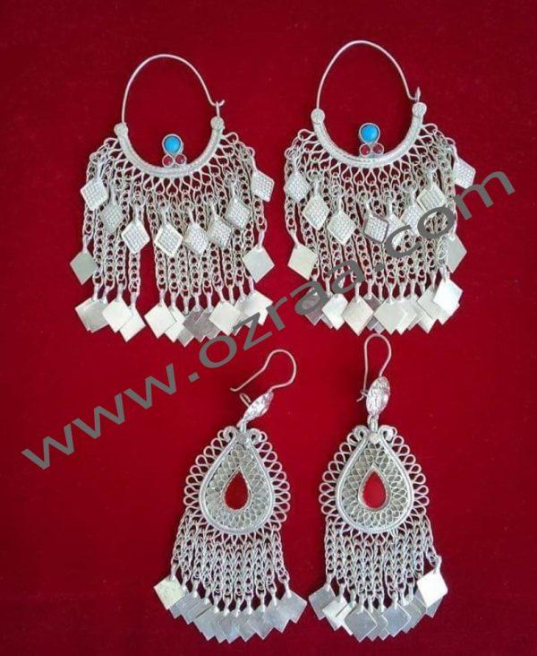 Silver Afghan Earrings in Stone