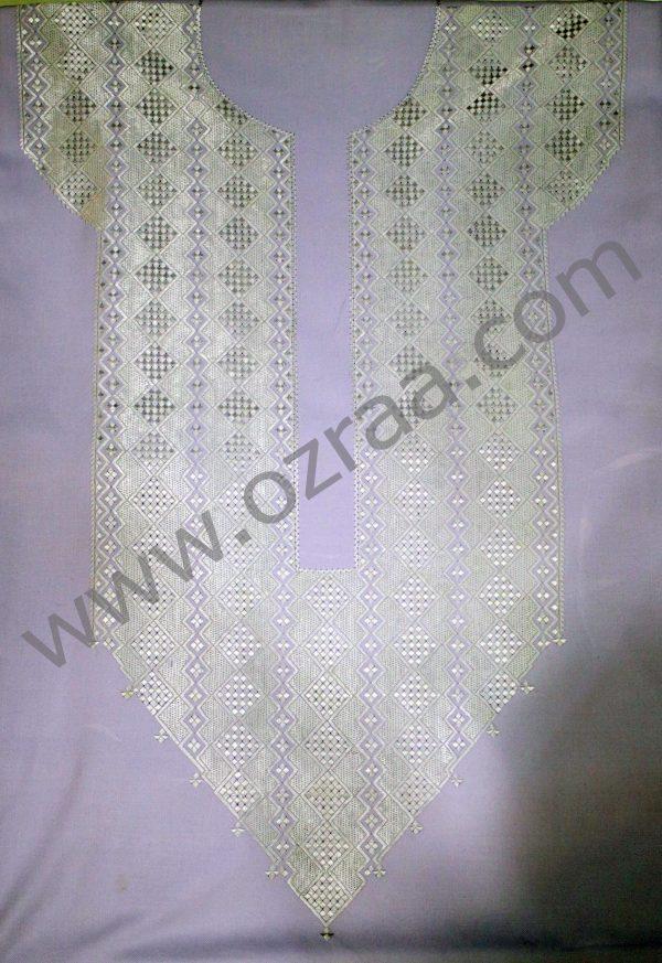White Embroidery Hazaragi Neck Design