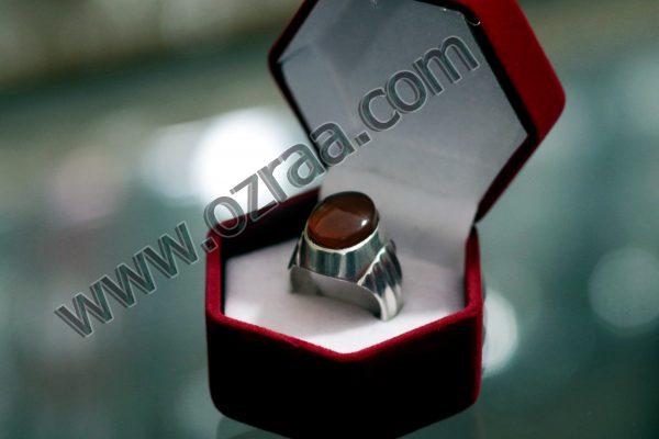Simple Irani Aqeeq Stone Ring in Diamond