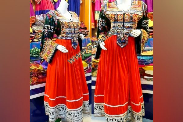 Traditional Gand Afghani Beautiful Dress in Red Color