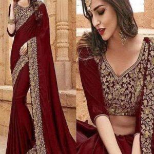 Indian Bridal chiffon embroidery saree