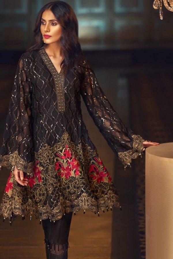 Jazmin Black Chiffon Fabric Dress