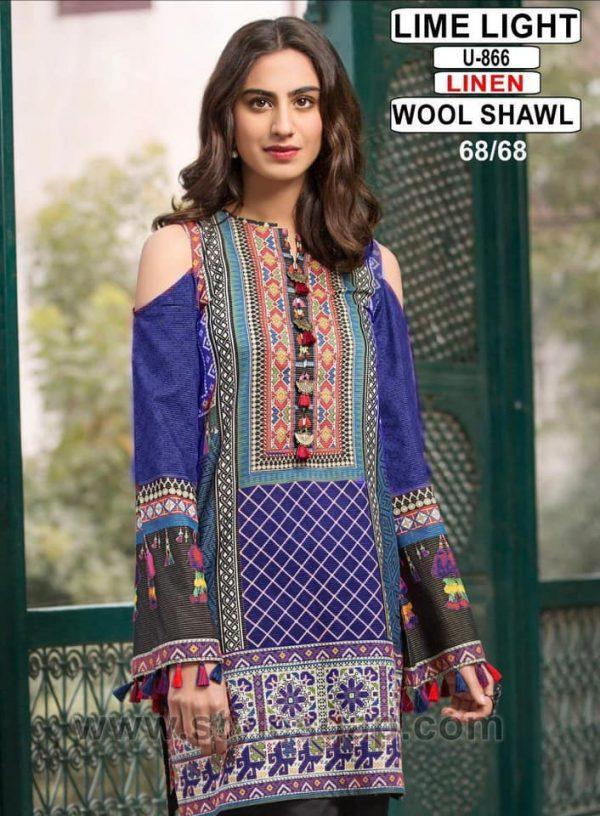 Lime Light Linen and Wool Shawl Dress