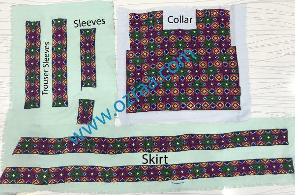 New Design Qabtomar Hazaragi Dress Collar, Sleeves, Skirt, and Trouser Sleeves
