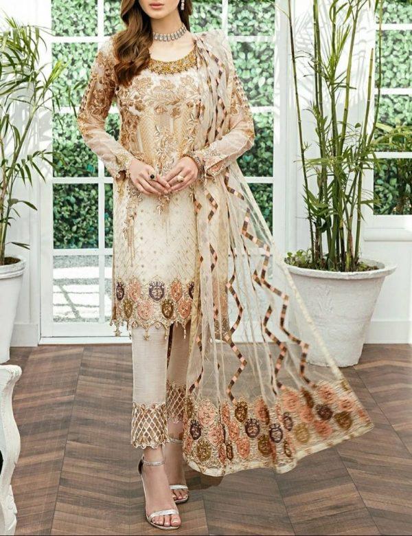 Ramsha Master Replica Fabric Pure Chiffon Embroidered