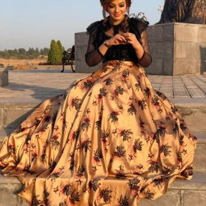 Stylish sequence work top with digital print full flared silk skirt attach cancan