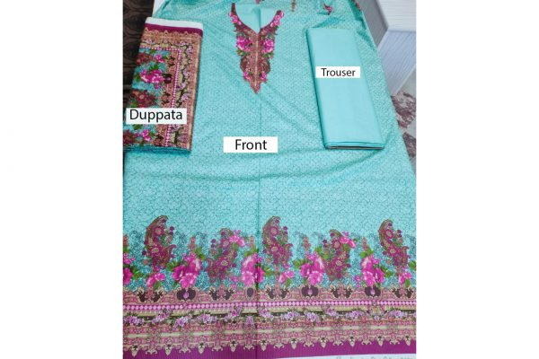 Embroidered 3pc Suit Cotton Unstitched