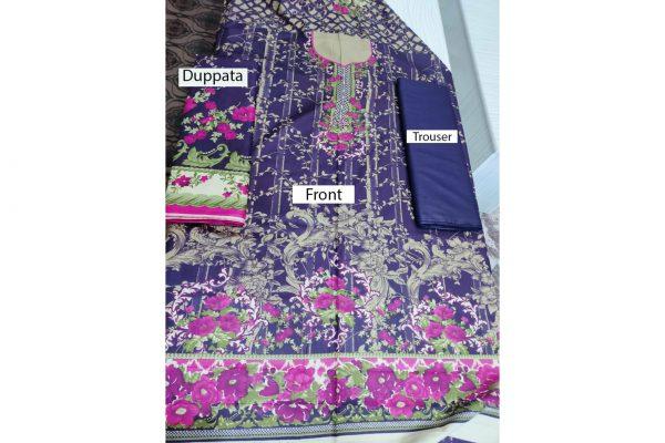 Cotton 3Pc Suit Printed Unstitched