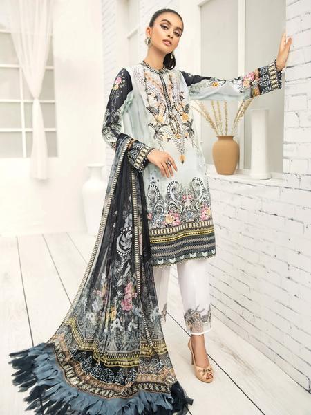 Farasha Linen Unstitched Embroidered 3Pc Suit