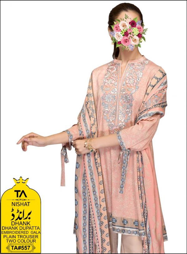3Pc Dhank Embroidered Unstitched New Design