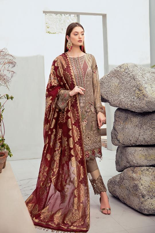 Rangoon Collection Chiffon Embroidered Suit