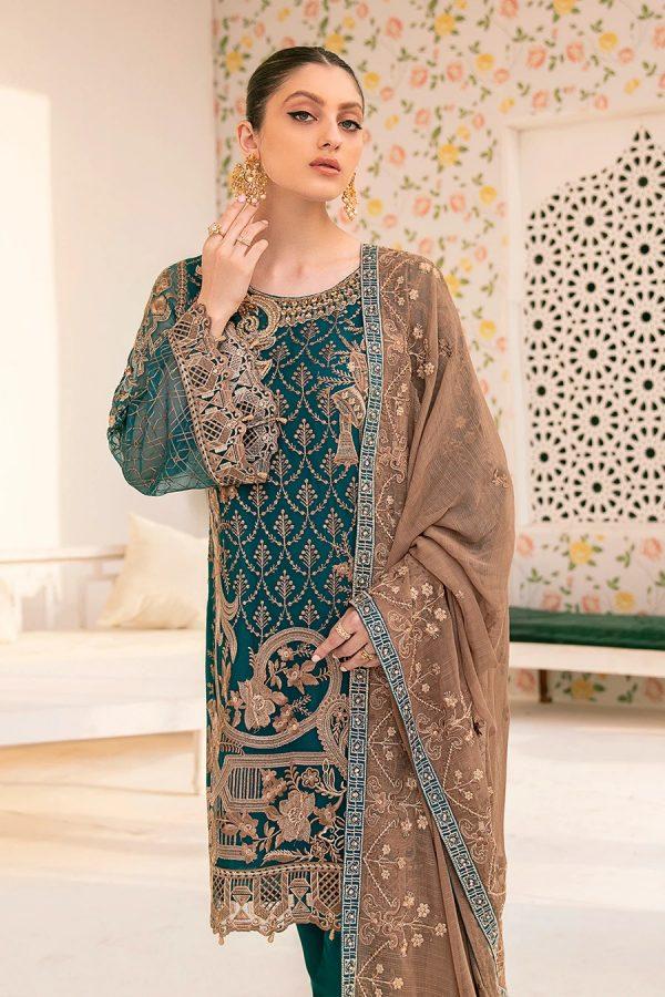 Ramsha Fresh Suit Embroidered Chiffon Hand Work
