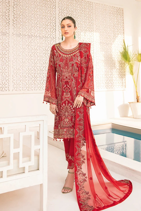 Ramsha Fresh Suit Embroidered Chiffon Hand Work