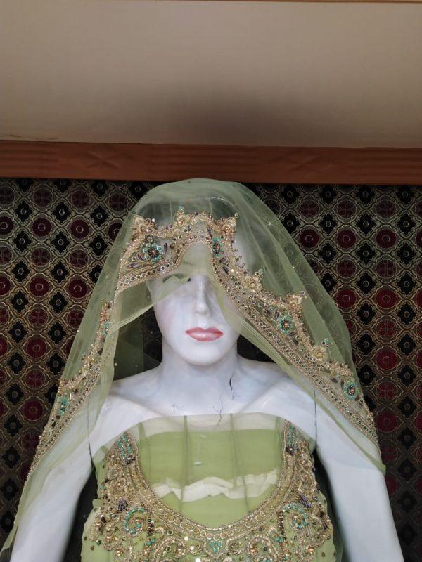 Green Color Fency Frouk Net Design Hand Work