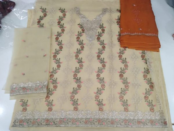 New Design Organza Suit Unstitched Embroidered