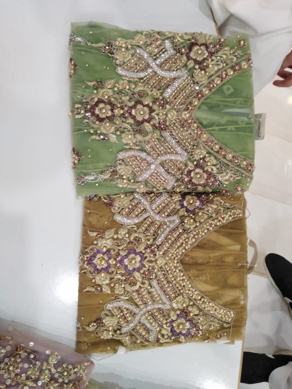 Rounded Frouk in Net and Malai/Benarsi Design