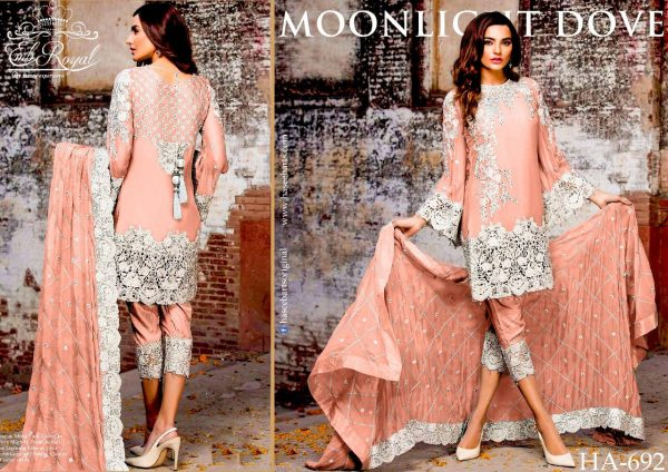 3Pc Chiffon Suit Embroidered Unstitched