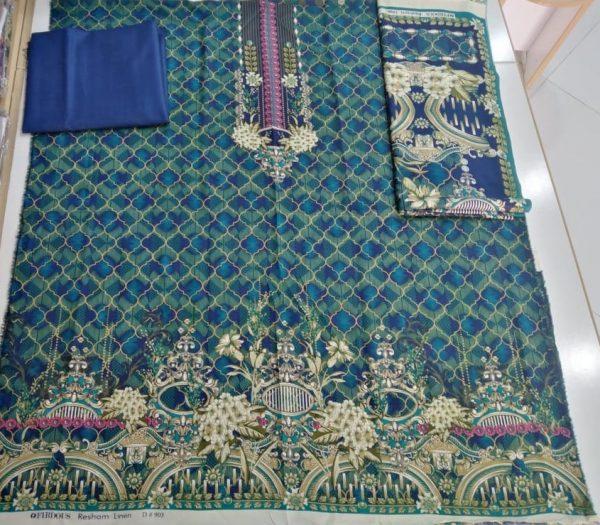 Firdous Resham Linen with Best Fabric Printed Unstitch