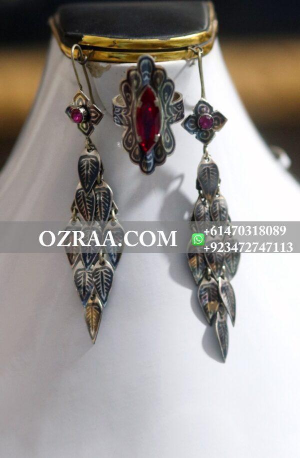 Hazaragi Culture Earrings and Ring in Noqra