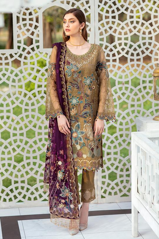 Embroidered Organza Minhal Vol-4 Collection Front