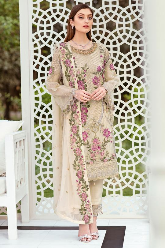 Embroidered Organza front with sequence front